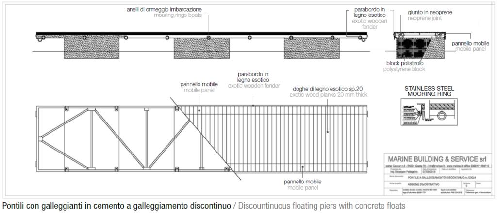 Pontile con galleggiante in cemento discontinuo